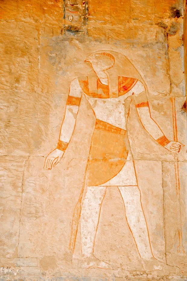 Colorful Horus carving at the Queen Hatshepsut Tomb
