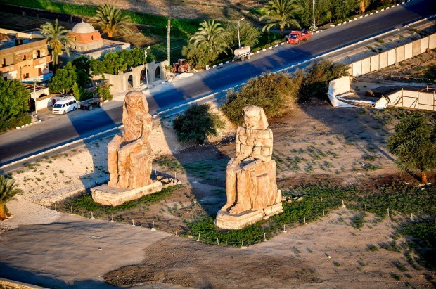 Colossi of Memon as seen from our hot air balloon
