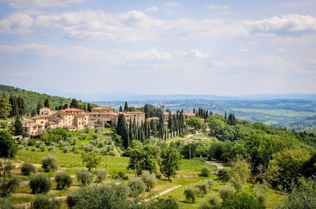 View of the village of Fonterutoli in the Tuscany countryside during the Cantine Aperte wine festival in Italy.