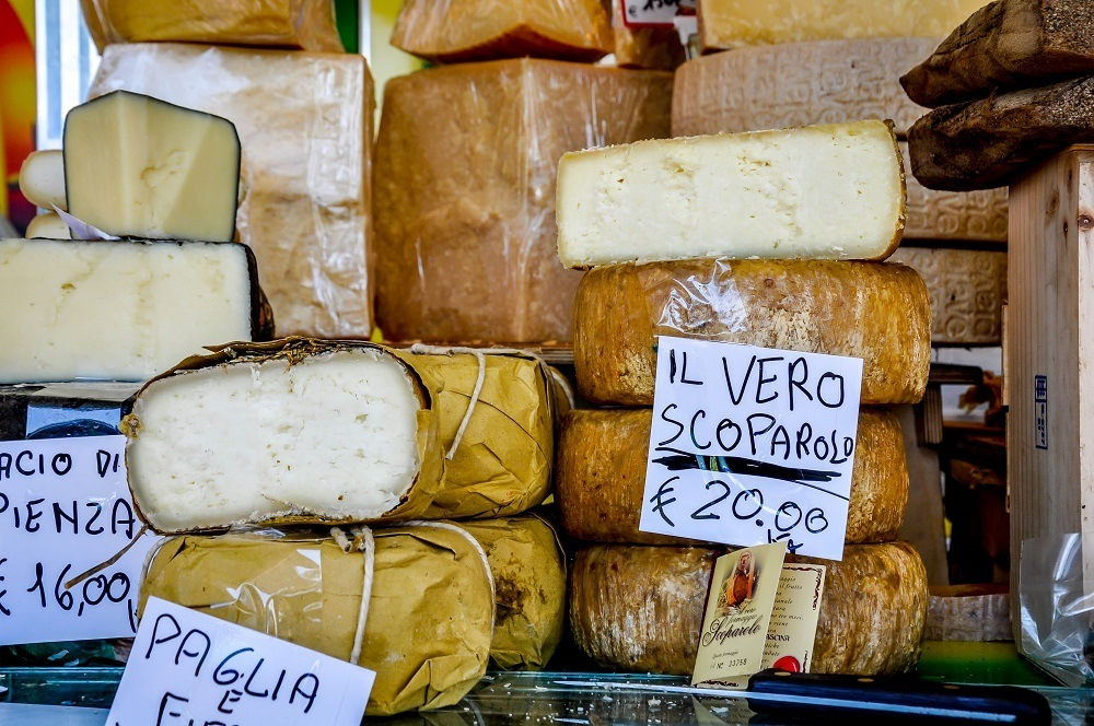 multiple cheeses at the Siena market