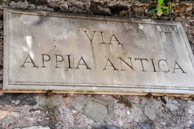Sign for the Via Appia Antica (The Appian Way Rome).