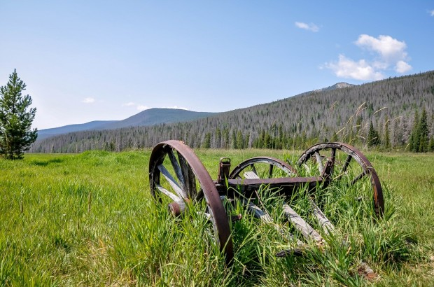Abandoned farming equipment at the Holzwarth National Historic Site inside the Rocky Mountain National Park.
