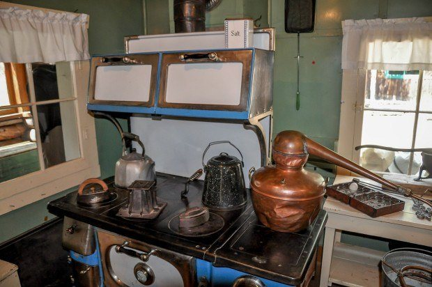 The kitchen at the Holzwarth National Historic Site inside Rocky Mountain National Park.