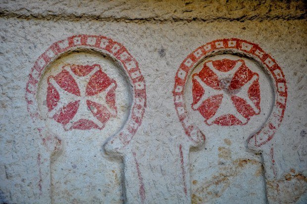 symbolism in the caves at the Goreme Open Air Museum.