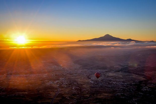 View of the sunrise from our Cappadocia balloon ride.