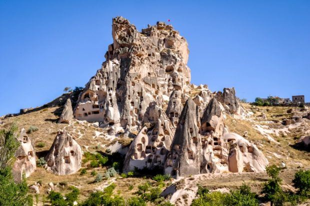 The Uchisar Castle in Cappadocia, Turkey.