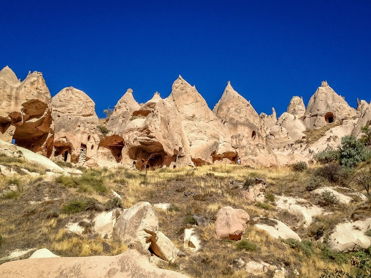 The cave dwellings at the Zelve Open Air Museum in Cappadocia.