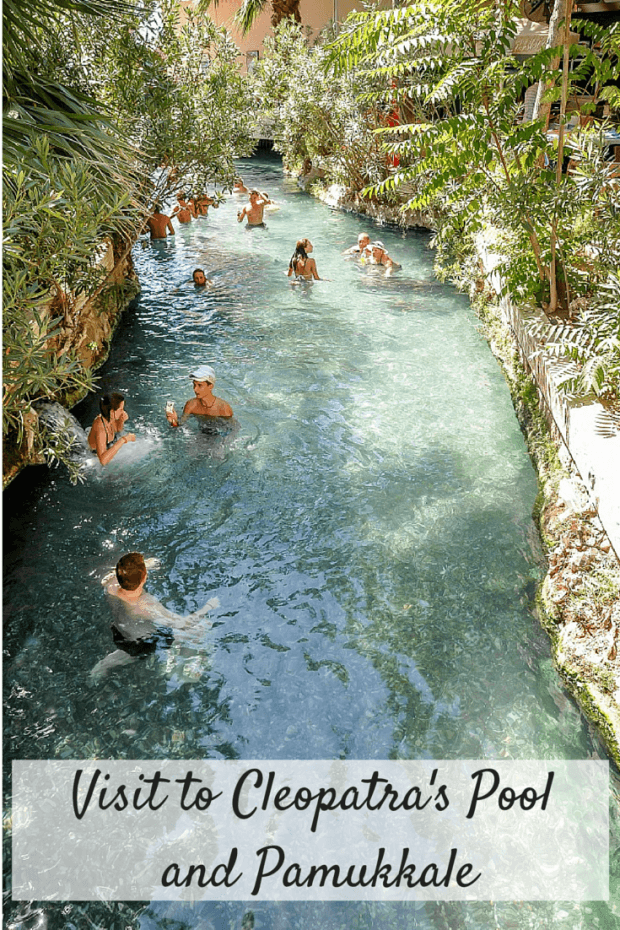 A visit to Cleopatra's Pool (aka the Antique Pool) in Pamukkale Turkey is a unique experience. The pool's ancient fallen columns and champagne  waters create an unusual environment for relaxation just above Pamukkale's travertine cliffs.