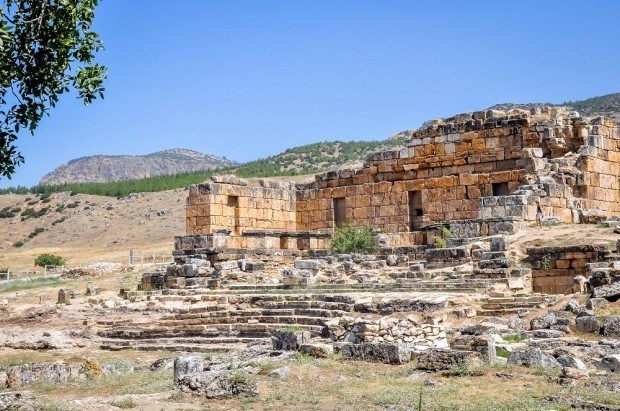 Ruins of a building in Hieropolis Turkey.  These ruins are very close to the Turkish pools of Pamukkale.