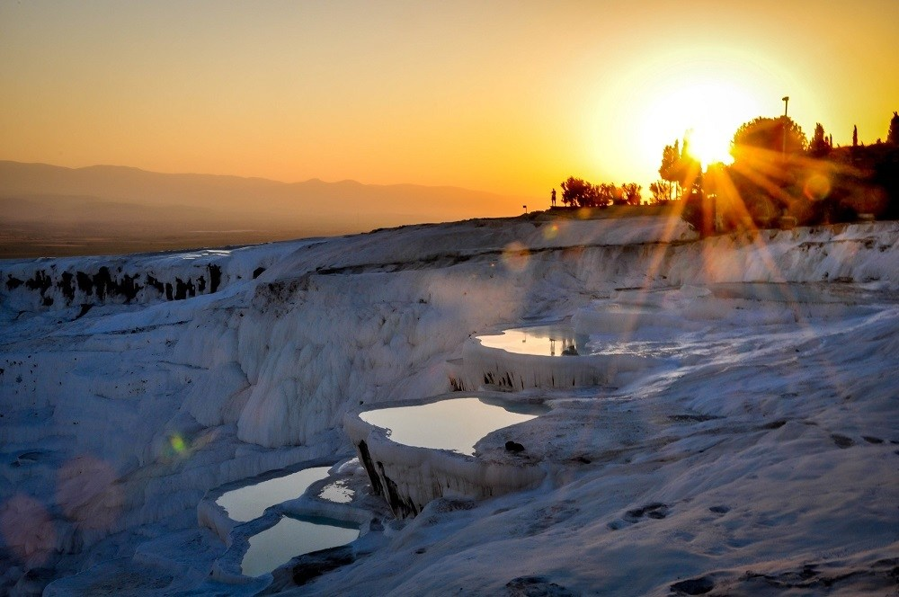 Sunset over the travertine pools in Pamukkale Turkey