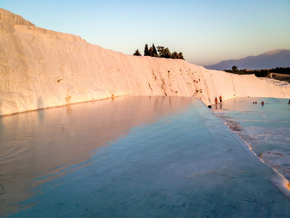 Water flowing over the travertines of the Cotton Castle Turkey at Pamukkale.