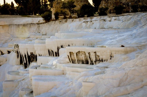 Pools in the travertines in Pamukkale Turkey