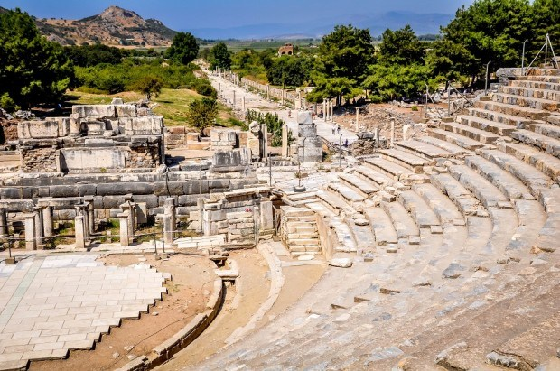 Semi-circular ancient amphitheater