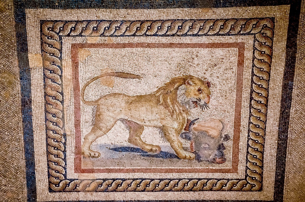 Restored lion mosaic at Ephesus