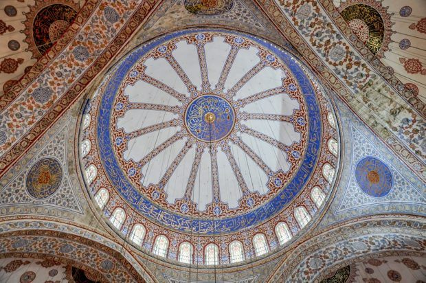 The ceiling of the Blue Mosque - one of the top tourist attractions in Istanbul.
