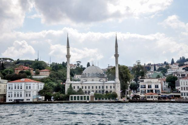 Istanbul Bosphorus cruises:  One of the many mosques visible on a Bosphurus Cruise tour Istanbul.