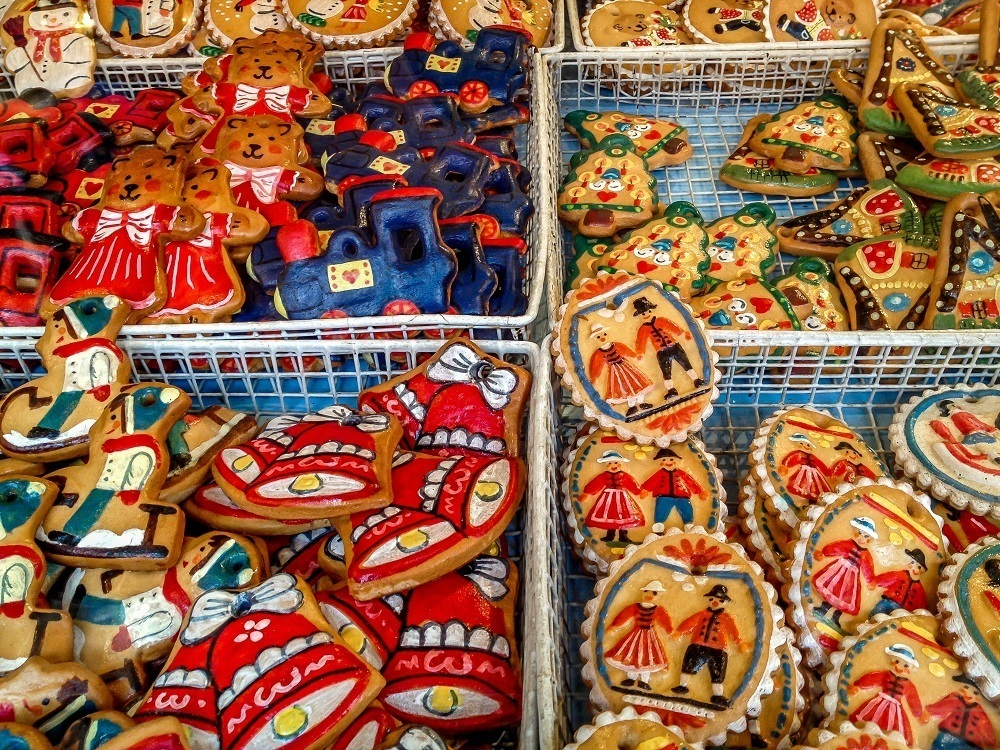 Gingerbread ornaments (lebkuchen) decorated with icing at the Christkindlmarket in Nuremberg Germany