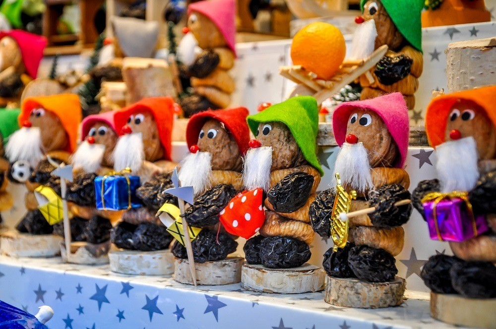 Prune people featured at the Nuremberg Christmas market, one of the best Christmas markets in Europe