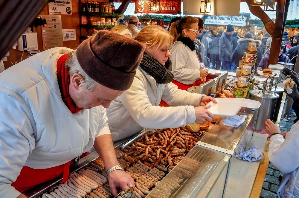 Nuremberg sausage is a great treat at the Christkindlesmarkt Nuremberg