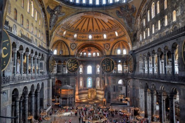 The view inside the Hagia Sophia in Istanbul, Turkey.