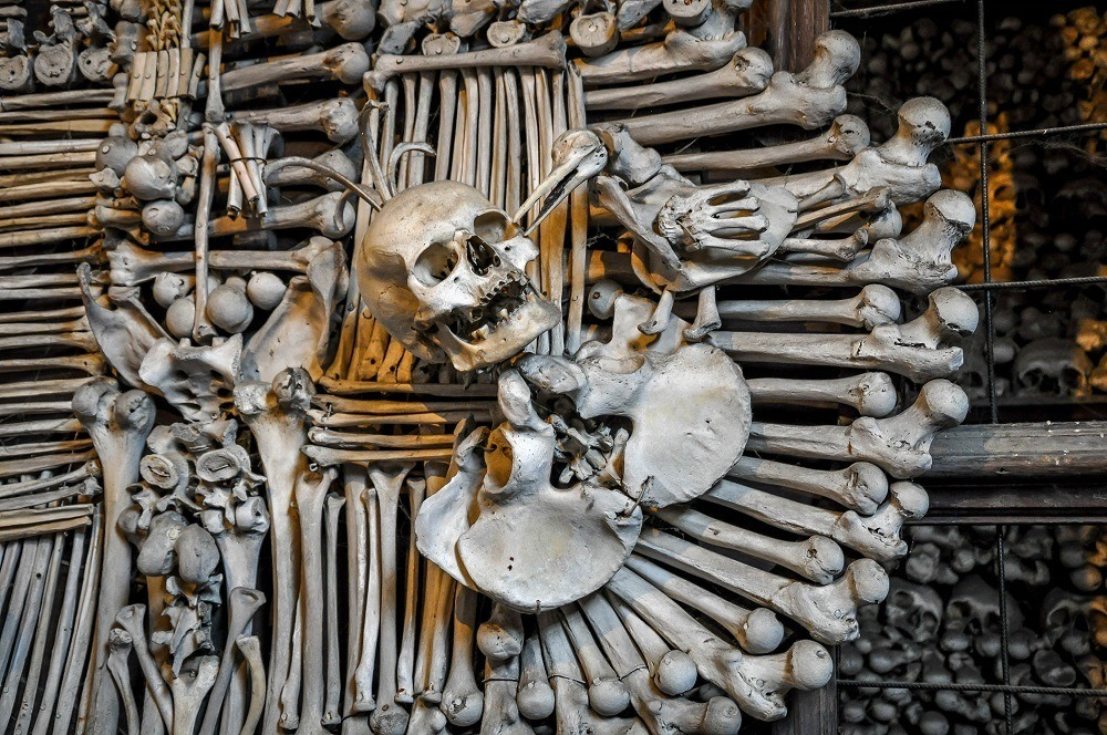 Ornate sculpture at the Kutna Hora Bone Church