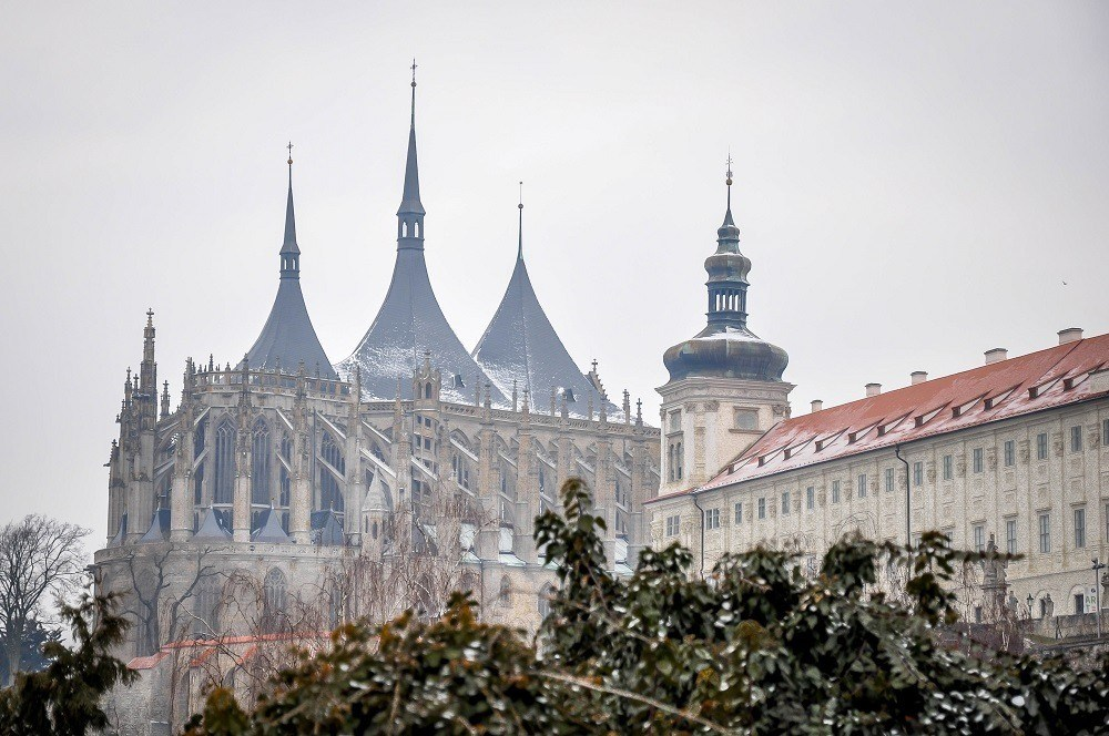 The Gothic St. Barbara's Cathedral covered in light snow