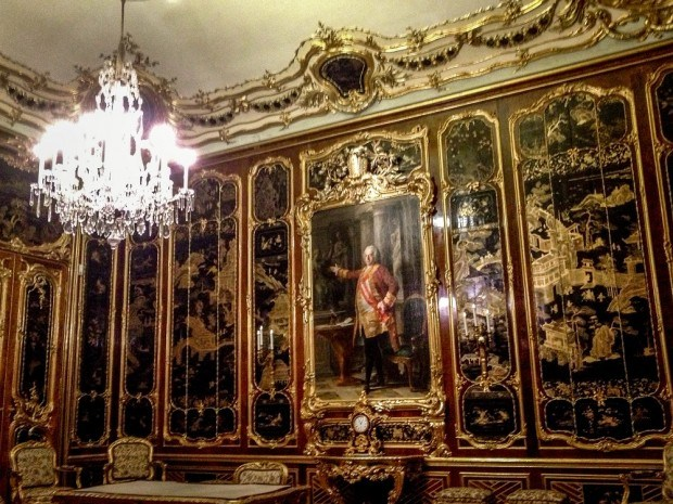 Dark Asian-inspired room in Schonbrunn Palace Vienna
