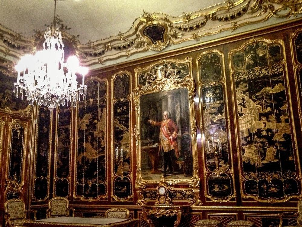 Dark Asian-inspired room in Schonbrunn Palace Vienna