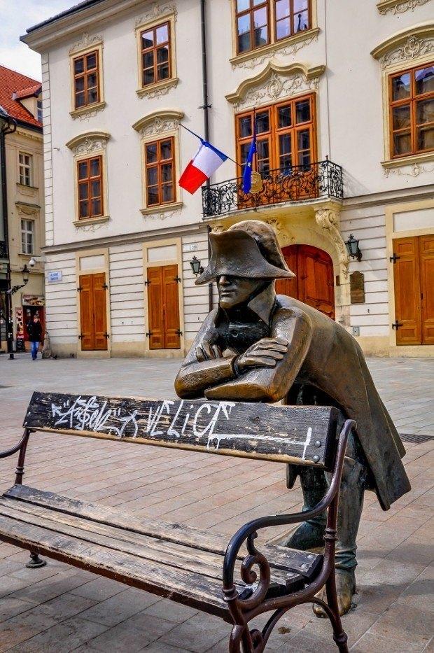 Napoleonic soldier statue on a Bratislava day trip