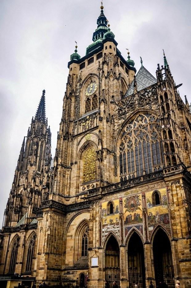 Intricate exterior of St. Vitus