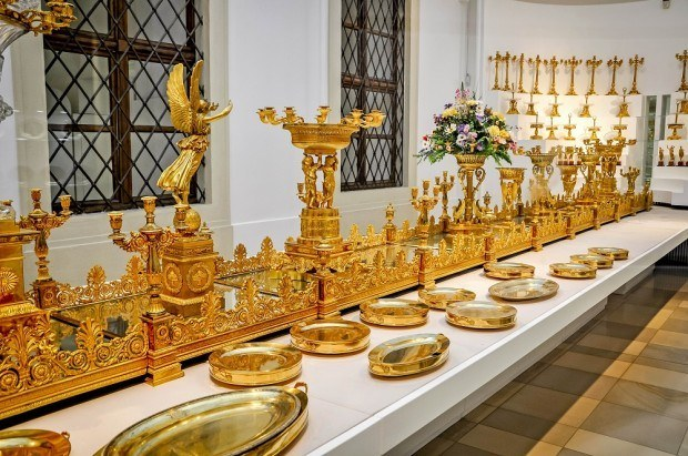 Gold banquet serving pieces at Hofburg Palace in Vienna, Austria