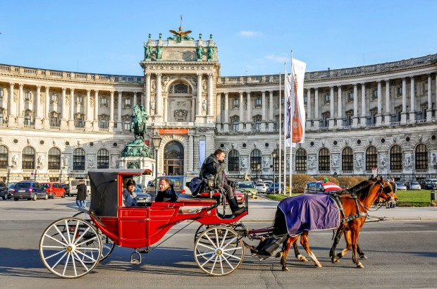 Coach outside the Hofburg Palace in Vienna, Austria