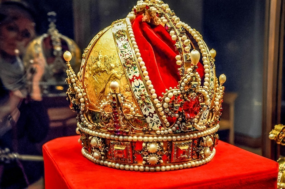 The Imperial Crown of Austria featured in the Imperial Treasury Museum at Hofburg Palace in Vienna