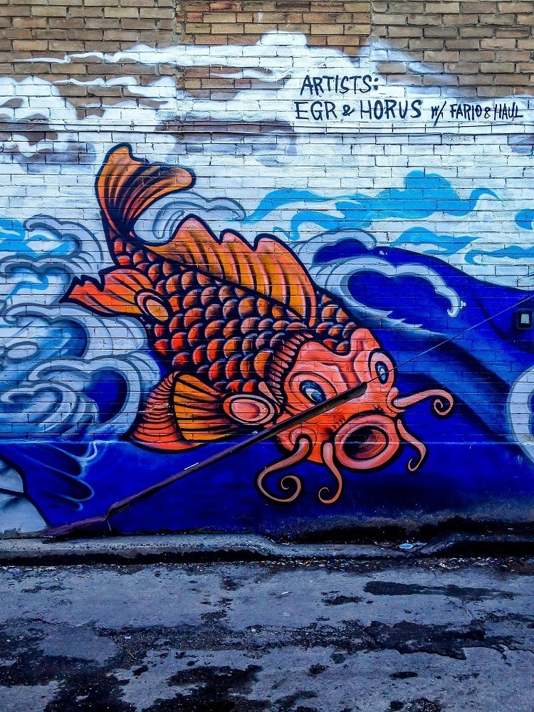 Koi street art in Chinatown