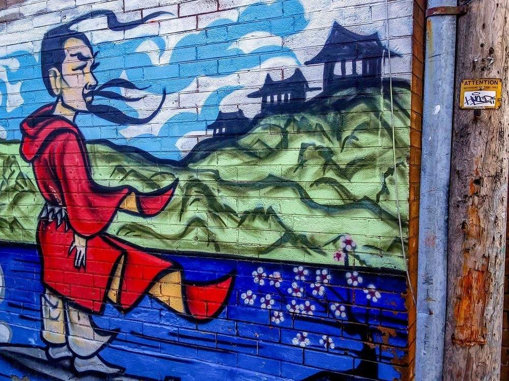 Warrior street art in Toronto's Chinatown