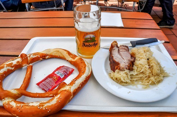 Pretzel, beer, and pork lunch at Andechs monastery, a short diversion off the Romantic Road.
