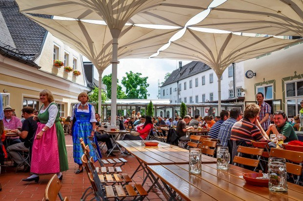 Patio for diners and drinkers at Andechs monastery