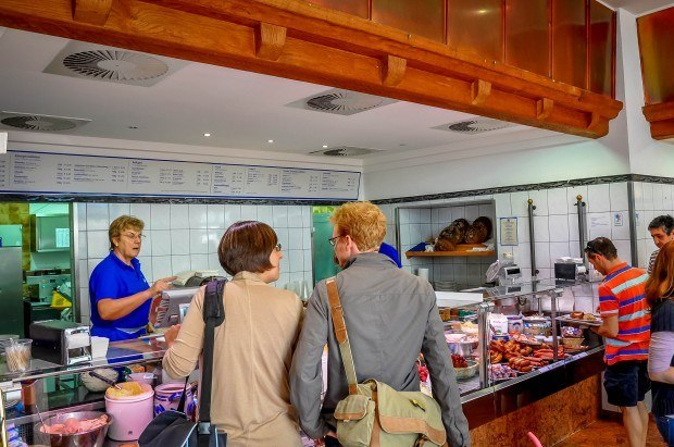 Self-serve food line at the brewery at Andechs monastery