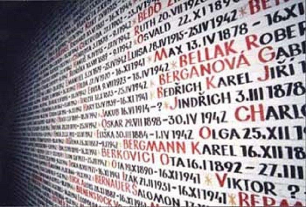 The Wall of Names in the Pinkas Synagogue within the Prague Jewish Quarter