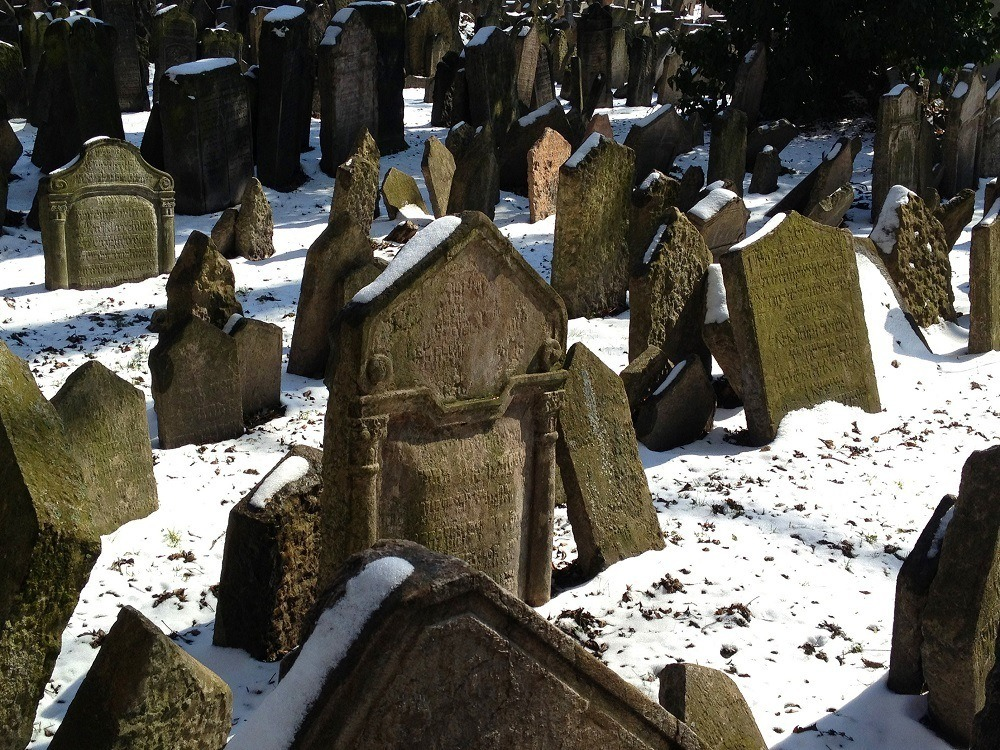 Haunted echos of the Prague Jewish Quarter - the tombstones show the strain of time.