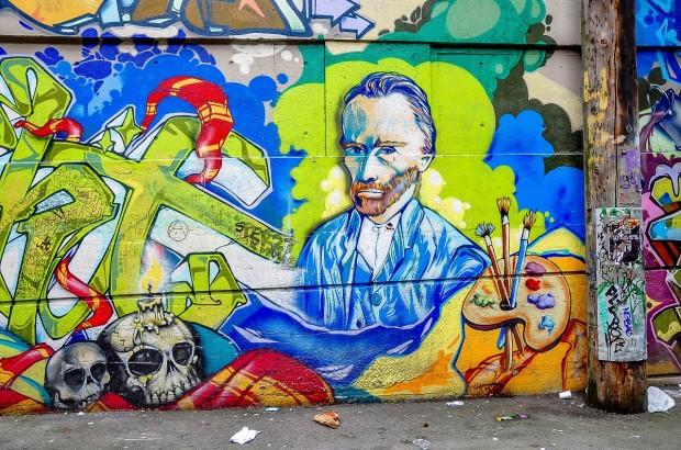 Vancouver-Canada-graffiti-Van-Gogh-skulls