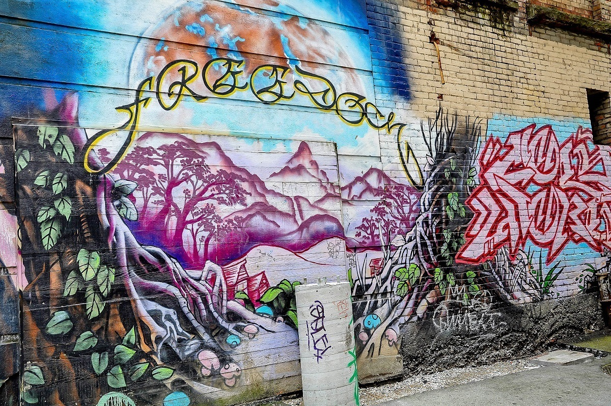 Purple mountains -- one of the Vancouver street art murals