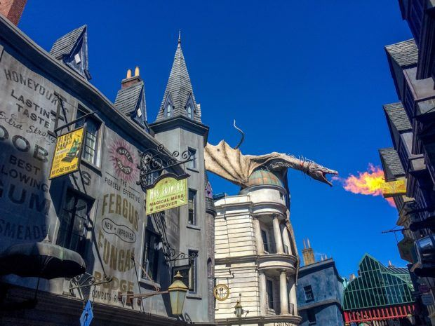 The dragon breathes fire periodically on his perch above Gringotts. Universal Florida is an Orlando must see.