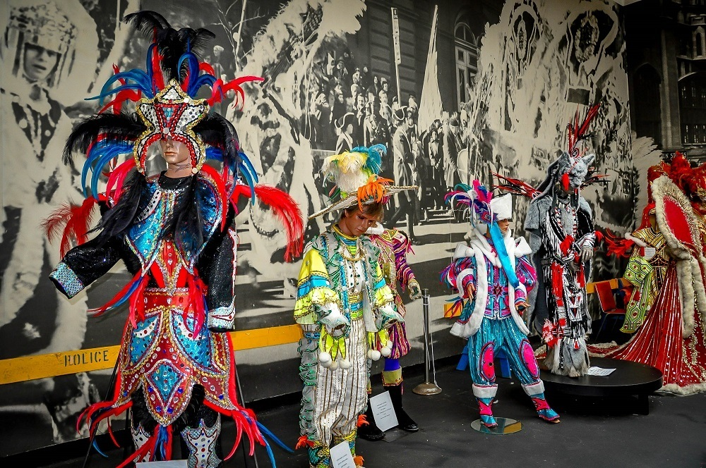 Manequins in colorful sequined Mummers costumes