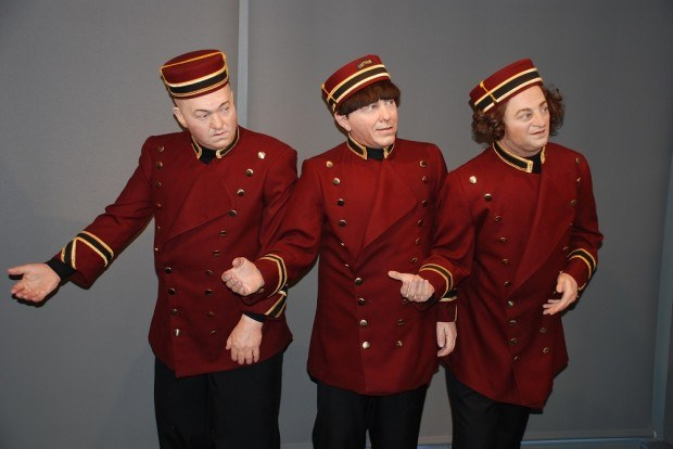 Three Stooges statues in ushers' uniforms - Philadelphia museums