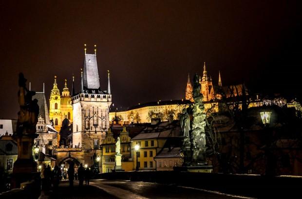 Charles Bridge and Prague Castle at night