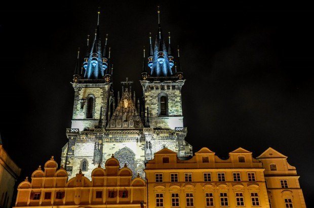 Prague architecture at night - Church of Our Lady Before Tyn