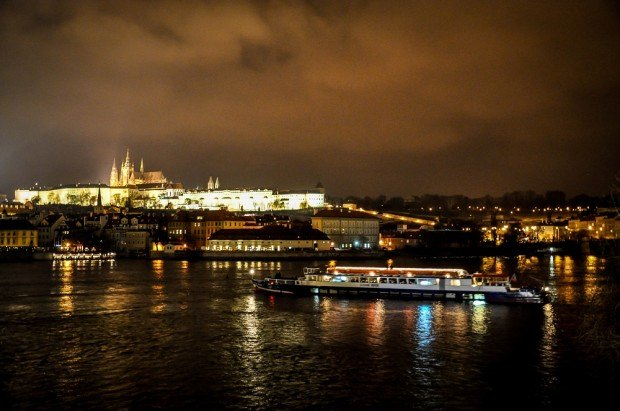 Vltava River and Prague Castle on the hill