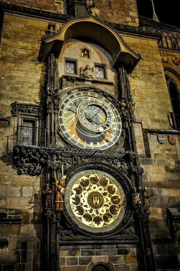 Front of the astronomical clock in Prague, Czech Republic
