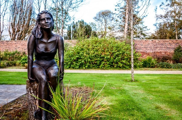 Statue of girl in a bathing suit